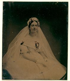 Tintype, Bride, 1860s with matching gold bride's bracelets.