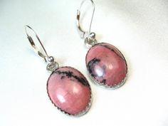 Rhodonite Gemstone Earrings Set in Sterling Silver Serrated Bezels | dianesdangles - Jewelry on ArtFire  #bmecountdown
