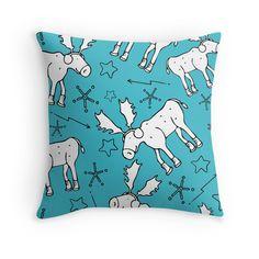 Winter moose celestial scene throw pillow, starry throw pillow, moose homegoods, winter decor.