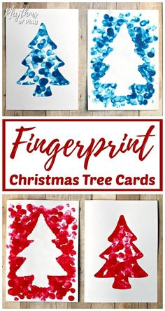 Reverse Fingerprint Christmas Tree Cards Reverse Fingerprint Christmas Tree Card - This easy craft makes for the perfect homemade Christmas card or gift tag kids can make this holiday season. Personalize your gifts with a handmade card! Christmas Cards Handmade Kids, Simple Christmas Cards, Christmas Card Crafts, Homemade Christmas Cards, Preschool Christmas, Christmas Cards To Make, Noel Christmas, Christmas Projects, Christmas Card Ideas With Kids