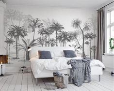 Sketch Tropical Trees Leaves Flowers Floral Wallpaper Restaurant Living Room Cafe Office Bedroom Mural Home Wall Art Removable Materials; Peel and Stick Vinyl or Non-Woven Embossed removable Wallpaper FEATURES: Wallpaper; Look Wallpaper, Forest Wallpaper, Custom Wallpaper, Wall Wallpaper, Adhesive Wallpaper, Wallpaper Paste, Photo Wallpaper, Adhesive Vinyl, Tree Wallpaper Bedroom
