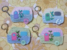 Handmade Crochet Caravan Keyring custom by FloAndDotShop on Etsy