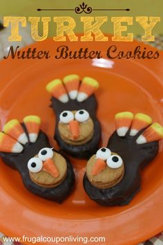 Turkey Nutter Butter Cookies Tutorial on Frugal Coupon Living - This and other Thanksgiving kids food crafts featured on Rachel Ray. Great way to reuse your Halloween Candy. Thanksgiving Desserts, Thanksgiving Turkey, Thanksgiving Celebration, Holiday Desserts, Holiday Foods, Holiday Fun, Thanksgiving Blessings, Happy Thanksgiving, Holiday Recipes