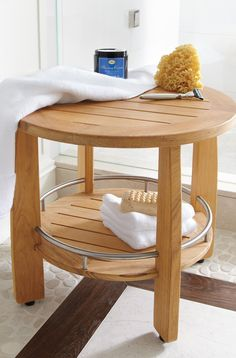 Our Spa Teak Round Stool provides comfort and convenience, all in one. This high-quality teak shower seat is sturdy and fits easily into the shower.