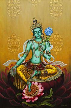 Buddha weekly green tara closeup buddha deity meditational green print featuring the painting green tara by yuliya glavnaya fandeluxe Images
