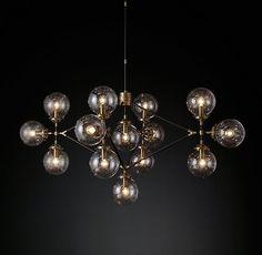 53, 105-03 option 2 Bistro Globe Clear Glass Lattice Chandelier