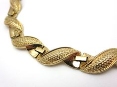Vintage Trifari Necklace - Rose Gold Swirled 1950s Costume Jewelry