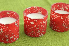 DIY candles, nice and easy!  All you need is a plain votive, paper and mod podge!