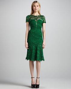 Burberry Prorsum Cutoutback Lace Dress in Green (kelly green) | Lyst