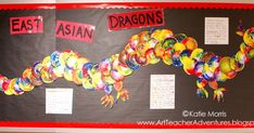 I finally used all the plates saved from the Kindergarten Swirly Color Wheel  project to make scales for a bulletin board dragon. This bu...