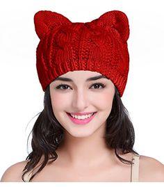 Cat Hat,V28 Women Girl Vintage Fashion Knit Crochet Beanie Ear Winter Cap Hats (Medium, Kitten Red)