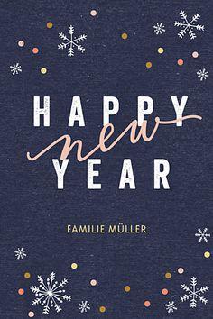 Weihnachtskarten Neujahrsschnee (klappkarte) blau