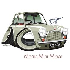"""""""Morris Mini Minor number 1"""" Stickers by car2oonz 