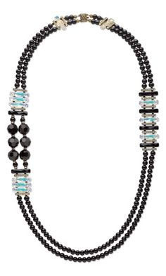Jewelry Design - Double-Strand Necklace with Swarovski Crystal and Black Onyx Gemstone Beads - Fire Mountain Gems and Beads