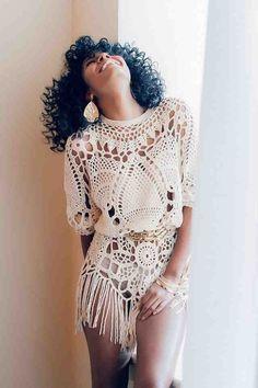 Love this Boho Chic Crochet Top. Crochet Fringe, Crochet Tunic, Crochet Clothes, Crochet Lace, Crotchet Dress, Crochet Edgings, Freeform Crochet, Crochet Tops, Irish Crochet