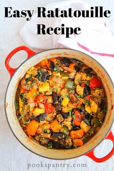 This easy ratatouille recipe celebrates vegetables and can be eaten on its own, with beans, pasta, on crostini or even as a side dish.  #ratatouille #veganrecipe #frenchfood #dinnerrecipes Vegan Dinners, Healthy Dinner Recipes, Vegetarian Recipes, Vegetarian Dish, Weeknight Dinners, Easy Ratatouille Recipes, Side Dish Recipes, Dishes Recipes, Side Dishes