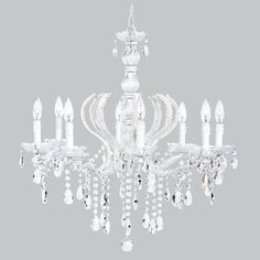 8-Light White Beaded Pageant Chandelier with Glass Center