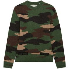 Off-White Oversized camouflage-intarsia wool sweater ($560) ❤ liked on Polyvore featuring tops, sweaters, army green, camo top, colorful sweaters, loose fitting tops, camouflage sweaters and army green sweater