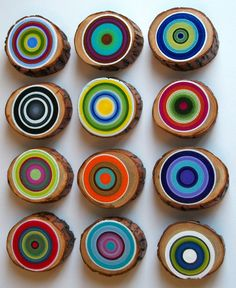 Tree Ring Set of 12 Customize your colors par HeatherMontgomeryArt