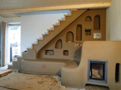 Modern cob stairs and bench