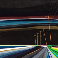Nighttime on Long Beach  Acrylic and graphite on wood panel  36 x 36 in