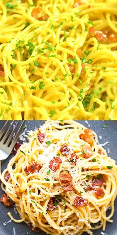 Rich, creamy and delicious Spaghetti Carbonara , with every strand coated in cheese and eggs.Spaghetti Carbonara - My WordPress Website Pasta Recipes, Chicken Recipes, Dinner Recipes, Cooking Recipes, Healthy Recipes, Cheese Recipes, Dessert Recipes, Ground Beef Recipes, Pasta Dishes