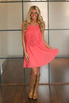 Modern Vintage Boutique -  Rodeo Fringe Dress Coral CLEARANCE, $24.00 (http://www.modernvintageboutique.com/rodeo-fringe-dress-coral-clearance.html)