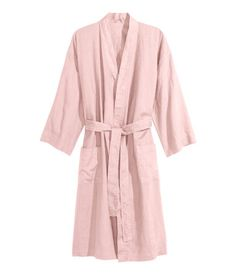 Washed Linen Bathrobe | Dusky pink | Home | H&M US