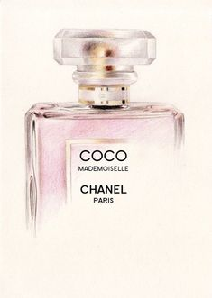 Tendance parfums Coco Mademoiselle Perfume Bottle Colour by DominiqueKirkby Pencil Drawing Tutorials, Pencil Drawings, Drawing Ideas, Mademoiselle Coco Chanel, Chanel Poster, Bottle Drawing, Parfum Chanel, Chanel Art, Fashion Wall Art