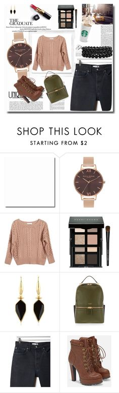 """""""Untitled #463"""" by vassiascissors ❤ liked on Polyvore featuring Olivia Burton, Ryan Roche, Chanel, Bobbi Brown Cosmetics, Isabel Marant, Henri Bendel, RE/DONE, JustFab, Bling Jewelry and Polaroid"""