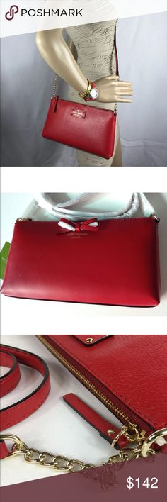 """NET Kate Spade Sawyer St Crossbody CHRISTMAS SALE Kate Spade Sawyer Street Pillbox Red Cross body bag Color Red(pillbox red 617) Size 5.5""""(H) x 10.3""""(W) x 1.2""""(D) Strap drop length 23.8"""" ,Total strap length 47.6""""                                            Details *Cross body with zip top closure *interior zip double slide pocket *smooth leather  *Capital kate jacquard lining  *14 karat light gold tone hardware kate spade Bags Crossbody Bags"""