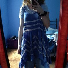 free people viole and lace trapeze slip in blue perfect condition except for small stain in second picture but barely noticeable. fits exactly like an s Free People Dresses