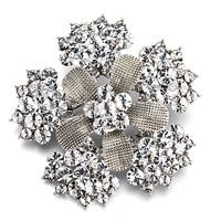 Pugster Snowflake With Five Cluster Of April Birthstone Clear Round And Pins Swarovski Crystal Brooches