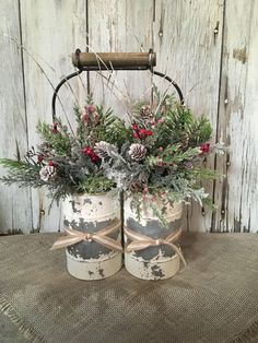 shop: A Primitive Double Winter Arrangement, Distressed Tin Christmas Centerpiece, FAAP, Holiday Arrangement, Christmas Arrangement Excited to share the latest addition to my Christmas Porch, Farmhouse Christmas Decor, Outdoor Christmas Decorations, Christmas Centerpieces, Primitive Christmas, Rustic Christmas, Vintage Christmas, Christmas Wreaths, Christmas Ornaments