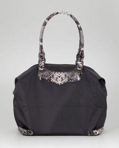 ShopStyle: Rebecca MinkoffPython-Trim Travel Tote Bag, Black/Natural