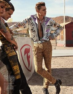 VERSACE Mens editorial In GQ Style U.K. Edition Spring Summer 2018 Issue photographed by GIAMPAOLO SGURA featuring Hailey Clauson, Vadim Ivanov, & Julian Schneyder styled by Luke Day additional fashions by Moschino pants/Calvin Klein 205W39NYC jeans & top/Balmain boots/Jessie Western bolo tie/ belt stylist own.