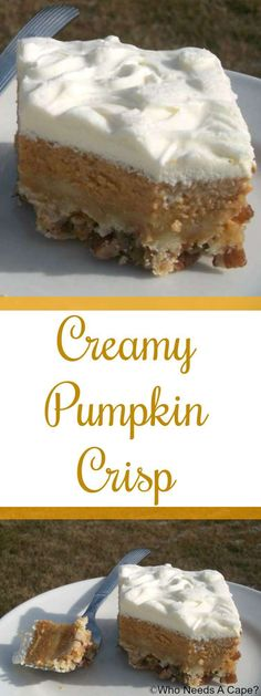 Creamy Pumpkin Crisp is a delicious alternative to traditional pumpkin pie. Serve for the holidays for a great dinner addition. {pinned over times} (thanksgiving food pie fillings) 13 Desserts, Delicious Desserts, Dessert Recipes, Health Desserts, Dinner Recipes, Pumpkin Recipes, Fall Recipes, Holiday Recipes, Fall Baking