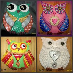 More salt dough owls I made. Please feel free to visit and share my page.Please browse my album to see all my handmade items for sale. https://www.facebook.com/pages/Crafty-Dough/152081408330968