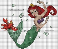 Little mermaid 1 of 2 cross stitch Disney Cross Stitch Patterns, Cross Stitch Charts, Cross Stitch Designs, Mermaid Cross Stitch, Cross Stitch Fairy, Disney Stitch, Cross Stitching, Cross Stitch Embroidery, Stitch Book