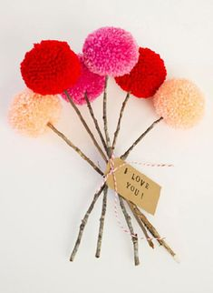pom-pom and twig bouquet