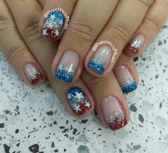 Glitters, Fourth of july nails