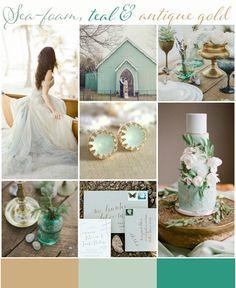 Wedding Colour inspiration Sea Foam, teal and antique gold Diy Wedding Cake, Unique Wedding Cakes, Wedding Games, Wedding Cake Designs, Unique Weddings, Wedding Planning, Sea Foam Wedding, Sea Green Weddings, Wedding Mint Green