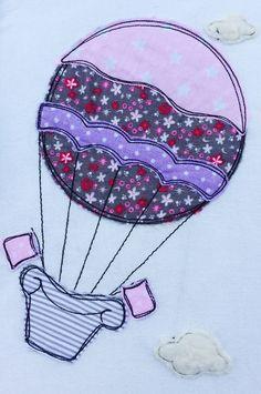 Stickmuster - Heißluftballon Doodle Stickdatei - ein Designerstück von feinliebshop bei DaWanda
