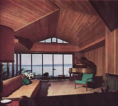 1963 Mid Century Modern Living Room with a VIEW