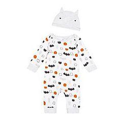 bluezoo - Baby boys' white Halloween print sleepsuit