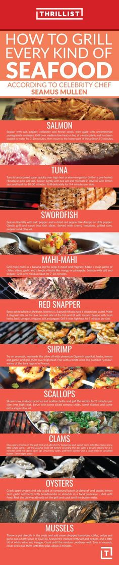 Here, Chef Seamus Mullen explains his favorite ways to grill 10 different types of seafood… and what to drink them with. http://grillsidea.com/