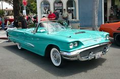 1959 Ford Thunderbird in Indian Turquoise. Maintenance of old vehicles: the material for new cogs/casters/gears could be cast polyamide which I (Cast polyamide) can produce Old American Cars, American Muscle Cars, Ford Thunderbird, Ford Motor Company, Vintage Cars, Antique Cars, Cj Jeep, Counting Cars, Ford Lincoln Mercury