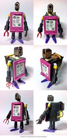 #HP #703 #Recycle #Robot /  #Lighter #Head #printer #ink #santadesign /  헌 쓰레기로 새 #쓰레기 만들기 #재활용 #개인의취향
