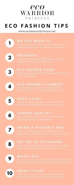 Eco Fashion Shopping Tips - Eco Warrior Princess infographic can find Shopping tips and more on our website.Eco Fashion Shopping Tips - Eco Warrior Princess infographic Sustainable Clothing, Sustainable Living, Sustainable Fashion, Sustainable Textiles, Sustainable Products, Sustainable Style, Sustainable Architecture, Fast Fashion Brands, Ethical Fashion Brands