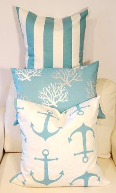 Nautical Themed Throw Pillow Covers ~ Handmade